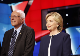 Image of Bernie Sanders and Hillary Clinton via Joseph Sohm/Shutterstock
