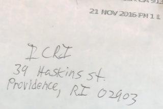 Mosque hate letter envelope (WPRI-TV screen grab)