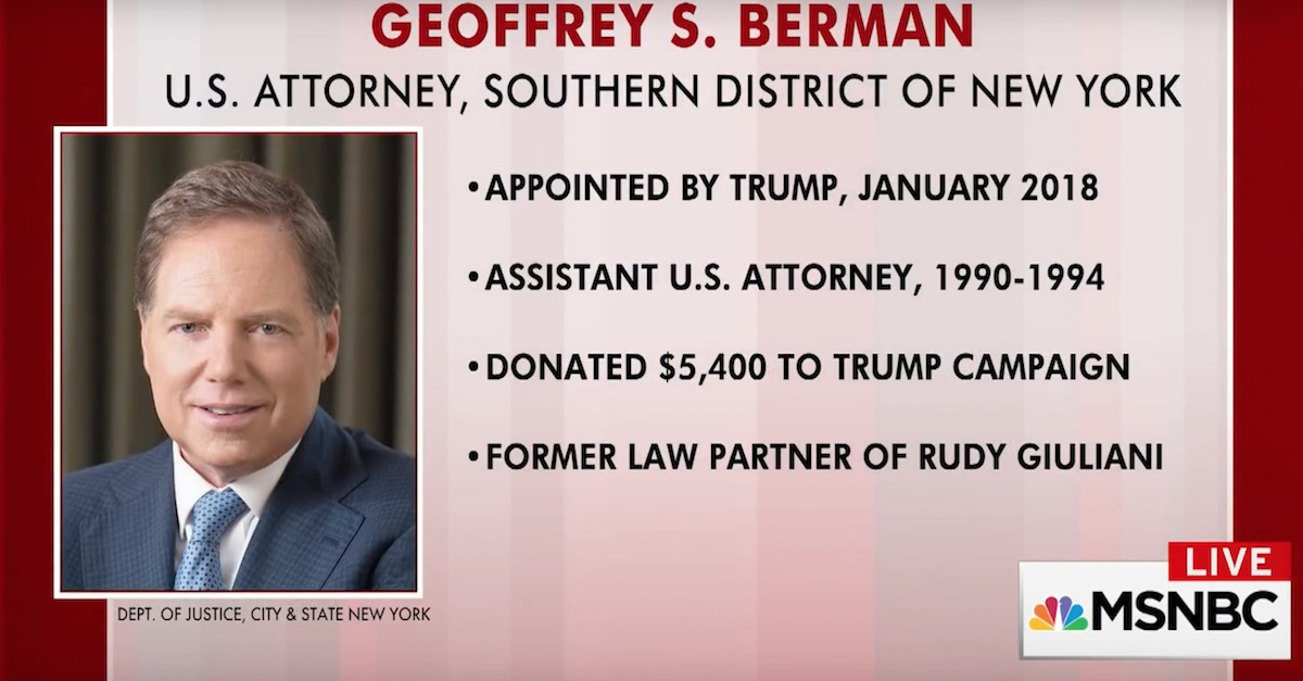 Geoffrey Berman Preet Bharara Donald Trump Michael Cohen FBI raid