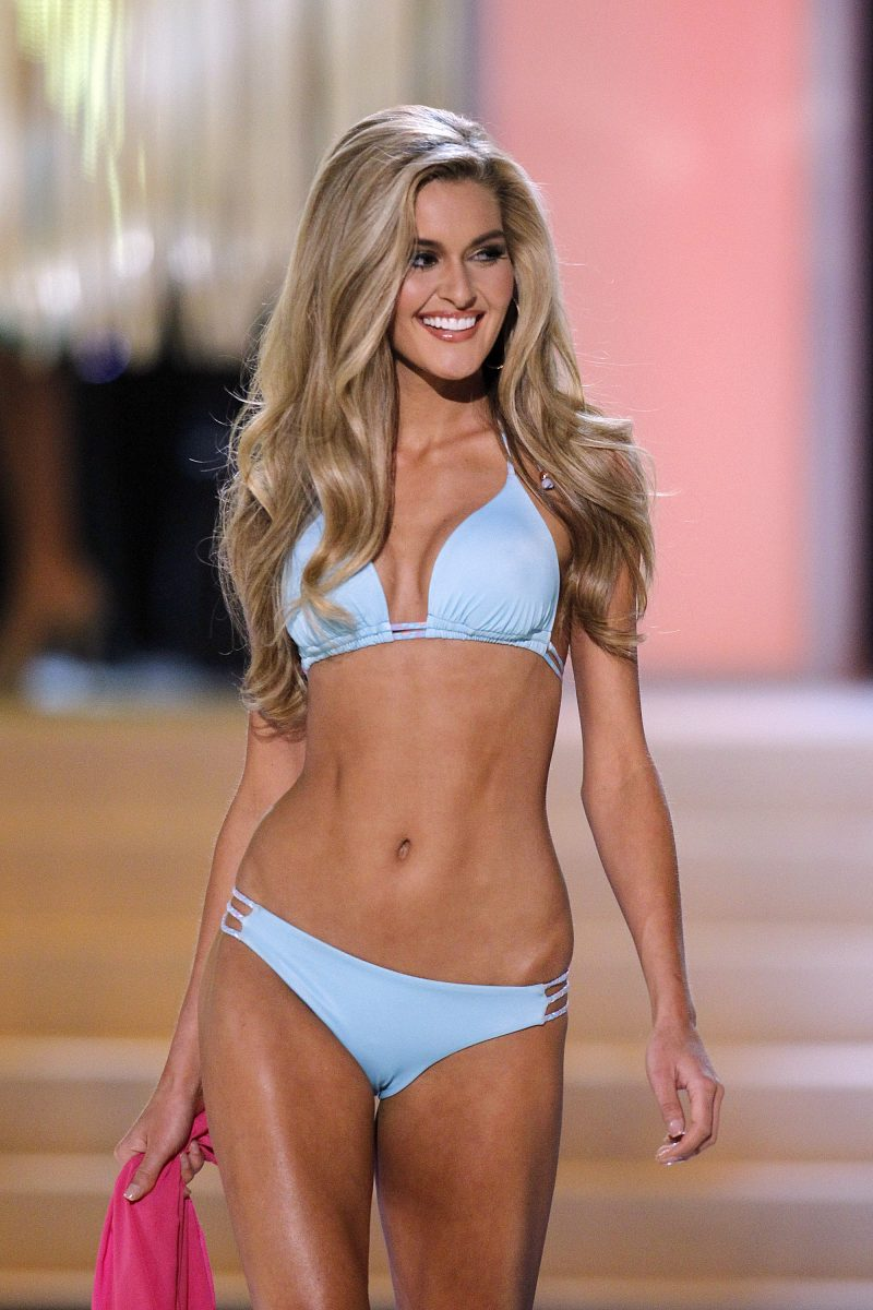 LAS VEGAS - JUNE 3: Miss Ohio USA Audrey Bolte competes in the swimwear competition during the 2012 Miss USA pageant at the Planet Hollywood Resort & Casino on June 3, 2012 in Las Vegas, Nevada.
