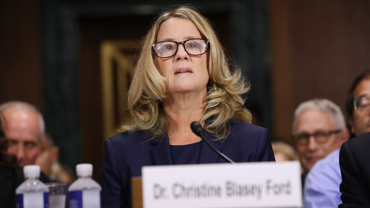 WASHINGTON, DC - SEPTEMBER 27: Christine Blasey Ford prepares to testify before the Senate Judiciary Committee in the Dirksen Senate Office Building on Capitol Hill September 27, 2018 in Washington, DC. A professor at Palo Alto University and a research psychologist at the Stanford University School of Medicine, Ford has accused Supreme Court nominee Judge Brett Kavanaugh of sexually assaulting her during a party in 1982 when they were high school students in suburban Maryland.