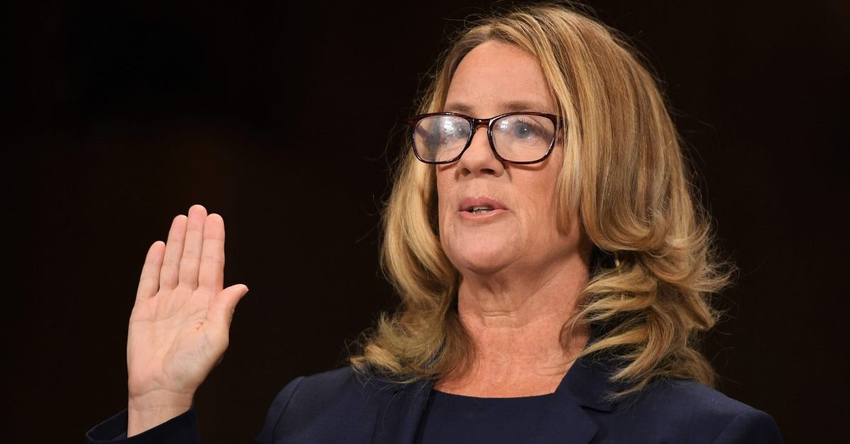 Christine Blasey Ford, the woman accusing Supreme Court nominee Brett Kavanaugh of sexually assaulting her at a party 36 years ago, testifies before the US Senate Judiciary Committee on Capitol Hill in Washington, DC, September 27, 2018.