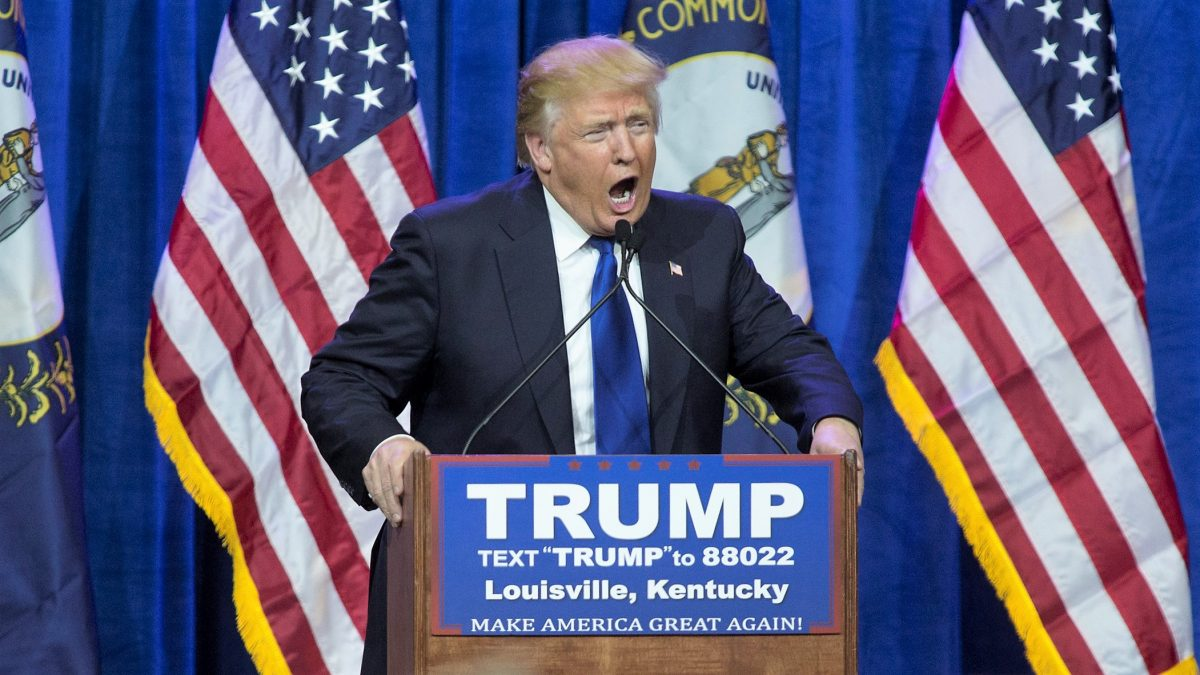 LOUISVILLE, KY - MARCH, 1: Republican presidential candidate Donald Trump speaks at the Kentucky International Convention Center March 1, 2016 in Louisville, Kentucky. Trump is campaigning nationwide on Super Tuesday, the single largest primary voting day.