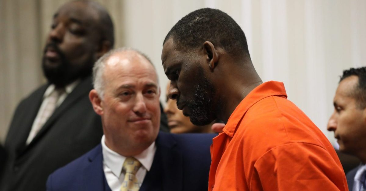 R. Kelly appears during a hearing at the Leighton Criminal Courthouse on Sept. 17, 2019.