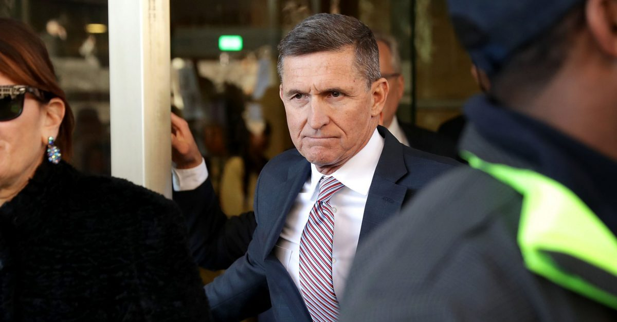 WASHINGTON, DC - DECEMBER 18: Former White House National Security Advisor Michael Flynn and his wife Lori Andrade leave the Prettyman Federal Courthouse following a sentencing hearing in U.S. District Court December 18, 2018 in Washington, DC. Flynn's lawyers accepted the judge's offer to delay sentencing for lying to the FBI about his communication with former Russian Ambassador Sergey Kislyak. Special Prosecutor Robert Mueller has recommended no prison time for Flynn due to his cooperation with the investigation into Russian interference in the 2016 presidential election.