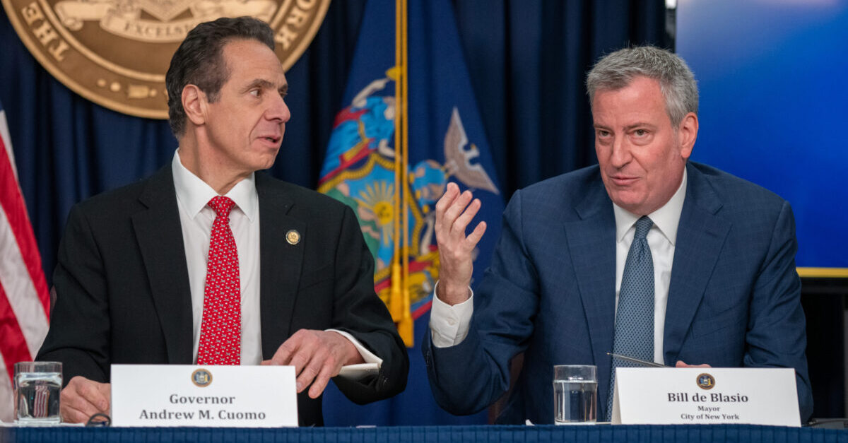 """NEW YORK, NY - MARCH 2: New York state Gov. Andrew Cuomo and New York City Mayor Bill DeBlasio speak during a news conference on the first confirmed case of COVID-19 in New York on March 2, 2020 in New York City. A female health worker in her 30s who had traveled in Iran contracted the virus and is now isolated at home with symptoms of COVID-19, but is not in serious condition. Cuomo said in a statement that the patient """"has been in a controlled situation since arriving to New York."""""""