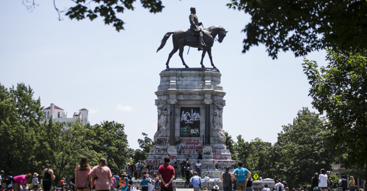 RICHMOND, VA - JUNE 04: A statue of Confederate General Robert E. Lee is pictured on June 4, 2020 in Richmond, Virginia. Virginia Gov. Ralph Northam (D) and Richmond Mayor Levar Stoney announced plans to take down the statue.