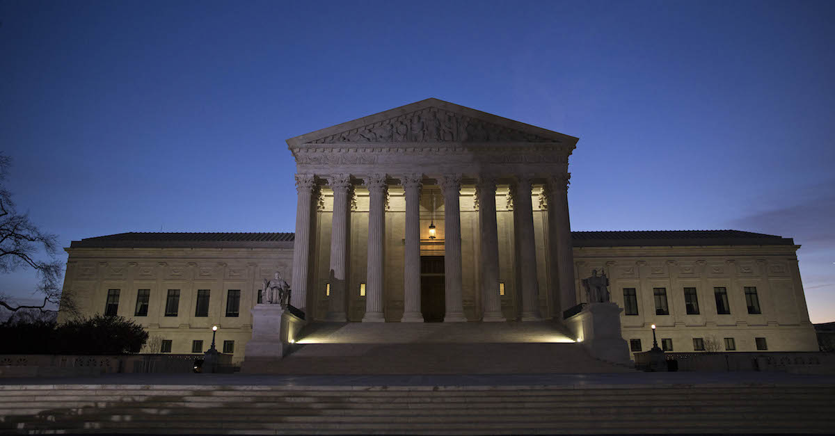 A file photo shows the exterior of the U.S. Supreme Court building.