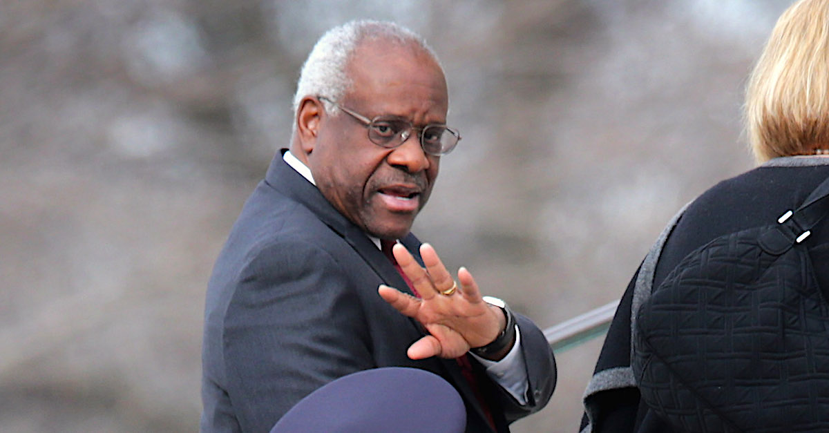 WASHINGTON, DC - FEBRUARY 20: U.S. Supreme Court Associate Justice Clarence Thomas and his wife Virginia Thomas arrive for the funeral for fellow Associate Justice Antonin Scalia at the the Basilica of the National Shrine of the Immaculate Conception February 20, 2016 in Washington, DC. Scalia, who died February 13 while on a hunting trip in Texas, layed in repose in the Great Hall of the Supreme Court on Friday and his funeral service will be at the basillica today.