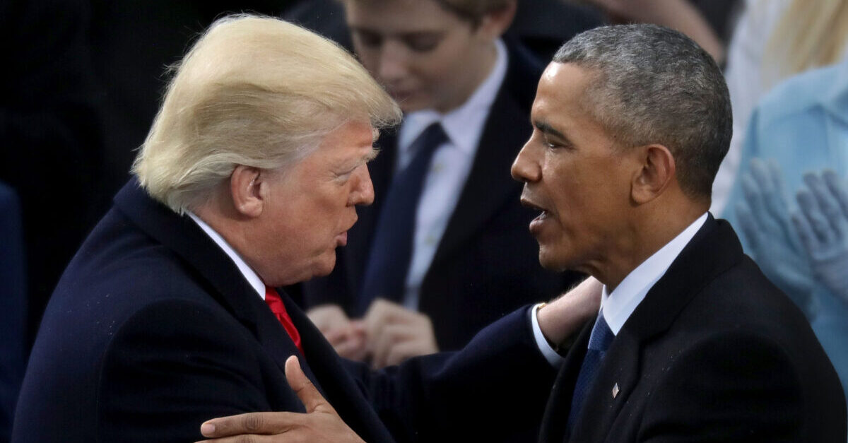 WASHINGTON, DC - JANUARY 20: Former U.S. President Barack Obama (R) congratulates U.S. President Donald Trump after he took the oath of office on the West Front of the U.S. Capitol on January 20, 2017 in Washington, DC. In today's inauguration ceremony Donald J. Trump becomes the 45th president of the United States.