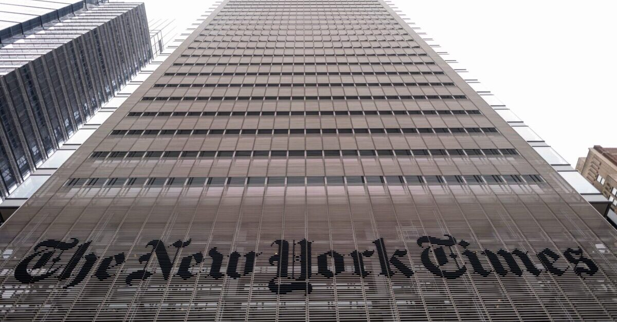 The New York Times building is seen on June 30, 2020 in New York City. - The New York Times has become the highest-profile media organization to leave Apple News, saying the tech giant's service was not helping achieve the newspaper's subscription and business goals. The daily's exit comes as news organizations around the world struggle with declining print readership and an online environment where ad revenue is dominated by Google and Facebook.
