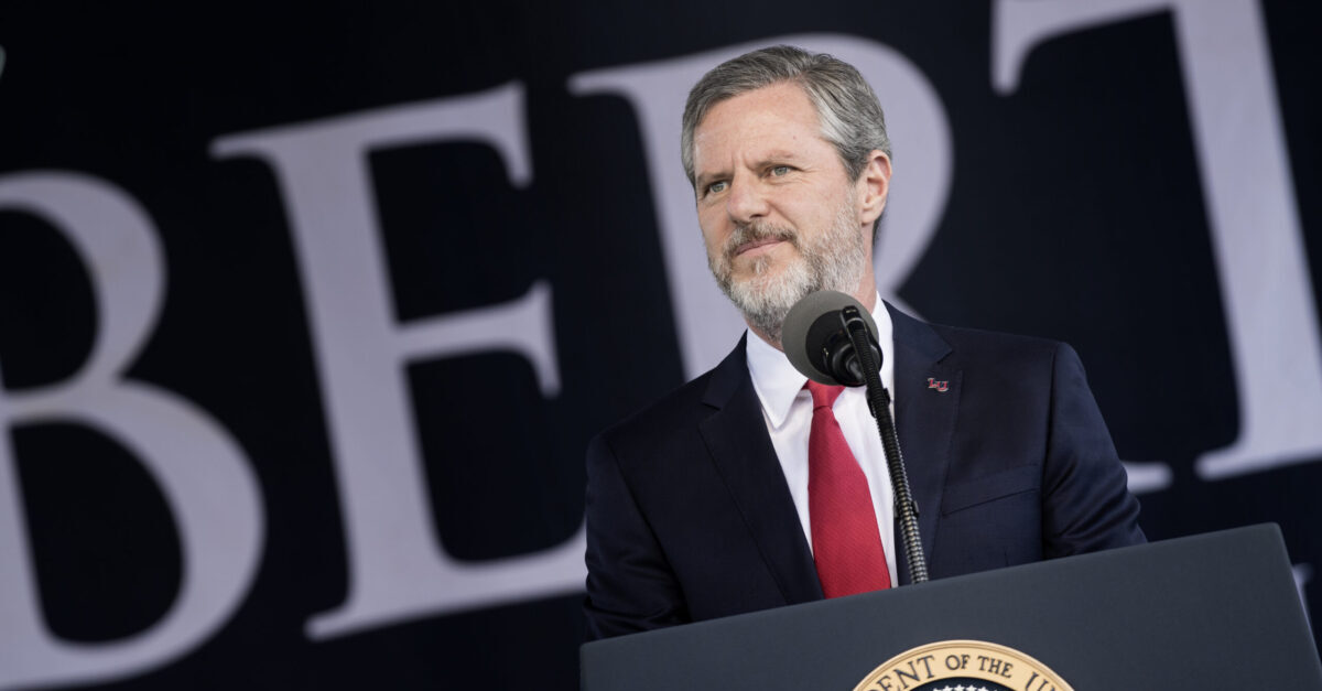 President of Liberty University Jerry Falwell, Jr. speaks during Liberty University's commencement ceremony May 13, 2017 in Lynchburg, Virginia.