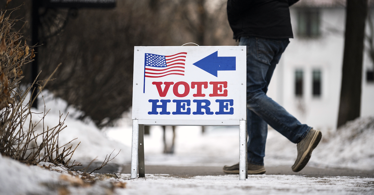 MINNEAPOLIS, MN - MARCH 03: Signage directs voters outside the Bakken Museum on March 3, 2020 in Minneapolis, Minnesota. 1,357 Democratic delegates are at stake as voters cast their ballots in 14 states and American Samoa on what is known as Super Tuesday.