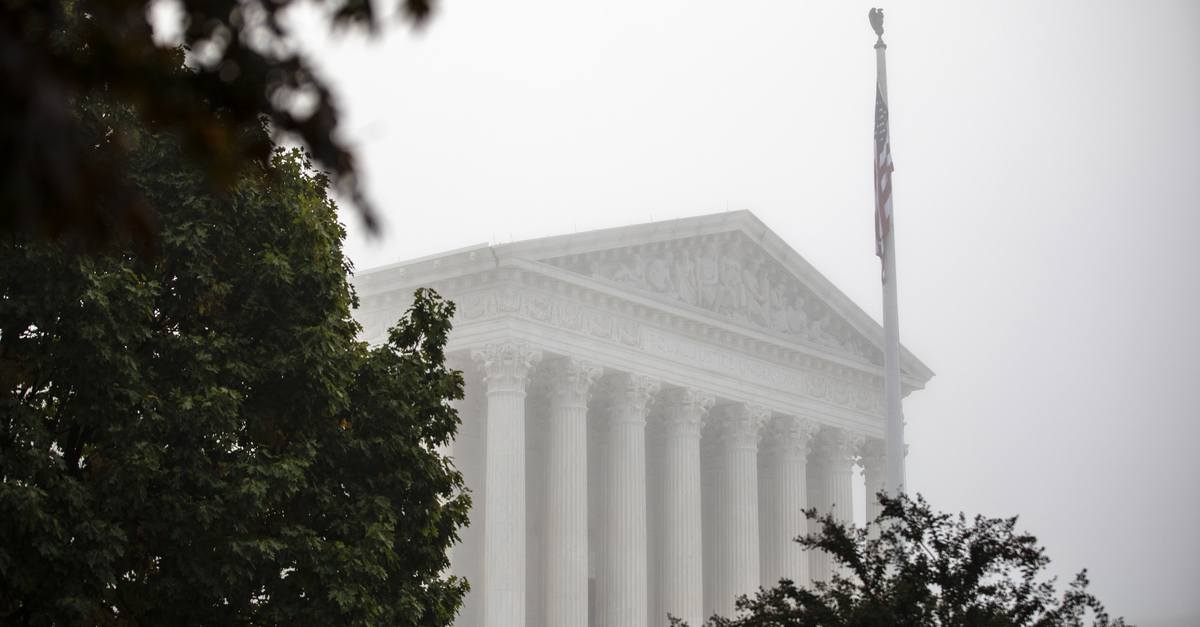 WASHINGTON, DC - OCTOBER 22: Fog blankets the city around the United States Supreme Court on October 22, 2020 in Washington, DC. The Senate Judiciary Committee intends to vote on the Supreme Court nomination of Judge Amy Coney Barrett today, who was nominated by President Donald Trump to fill the vacancy left by Justice Ruth Bader Ginsburg who passed away in September. (