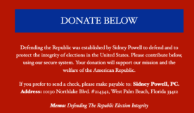 Donation page for Sidney Powell's Defending the Republic