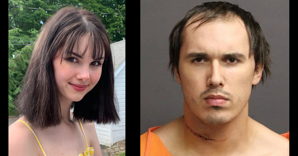 Two images show Bianca Devins and Brandon Clark, the man who admitted to killing her.