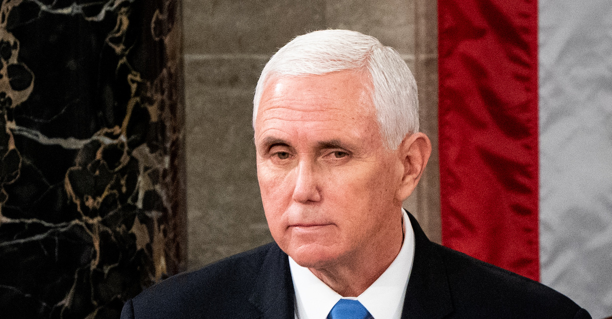 Vice President Mike Pence presides over a Joint session of Congress to certify the 2020 Electoral College results on Capitol Hill in Washington, DC on January 6, 2020.