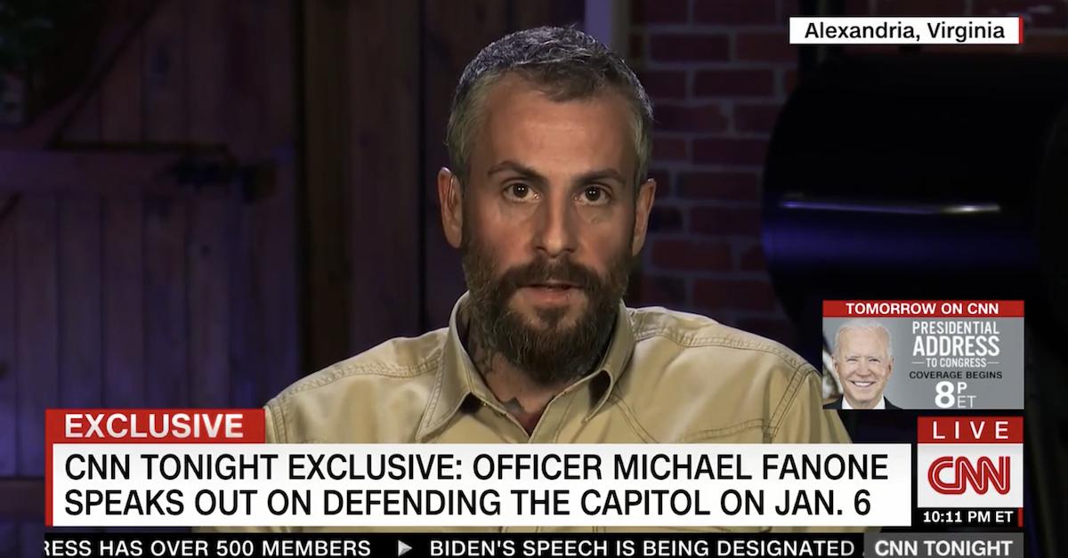 Screenshot of Michael Fanone speaking to Don Lemon on CNN