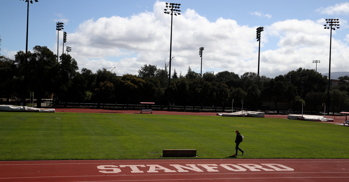 Stanford logo seen on a track at the school