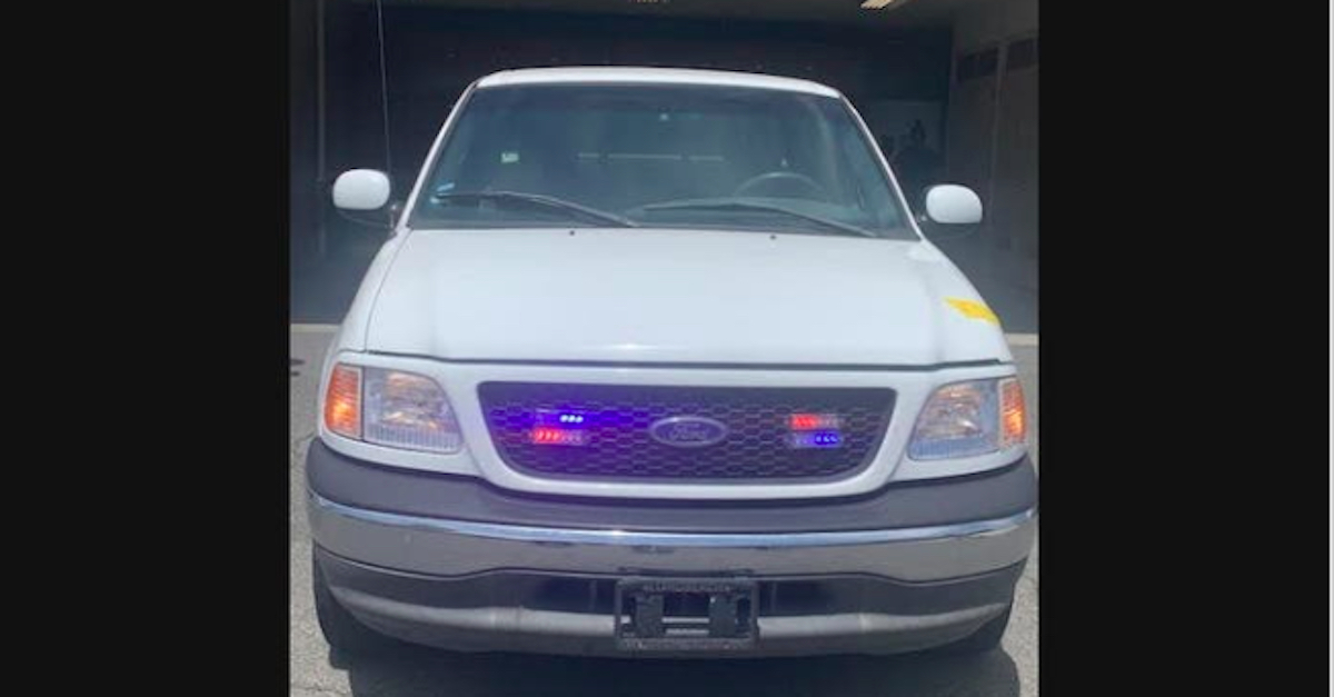 The vehicle allegedly used by Ryan Lee Meeker to impersonate a police officer.
