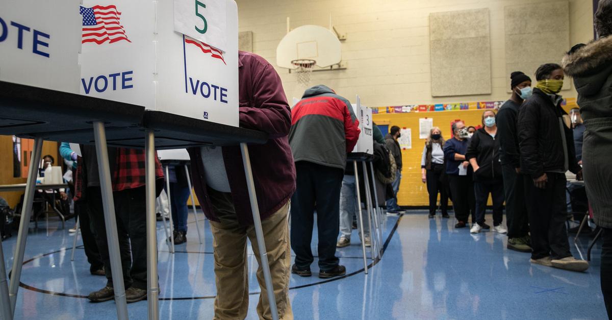 People voting in Detroit in 2020