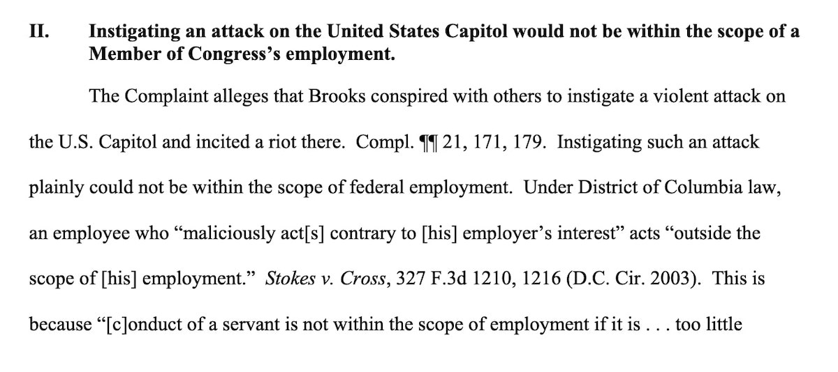 Screenshot from DOJ brief rejecting Westfall Act certification for Mo Brooks