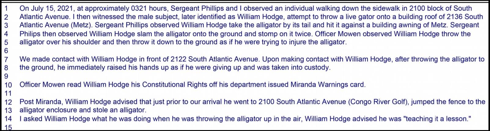 William Hodge charging affidavit
