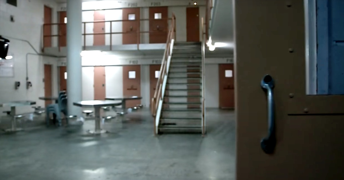 A file photo shows the interior of a jail or prison.