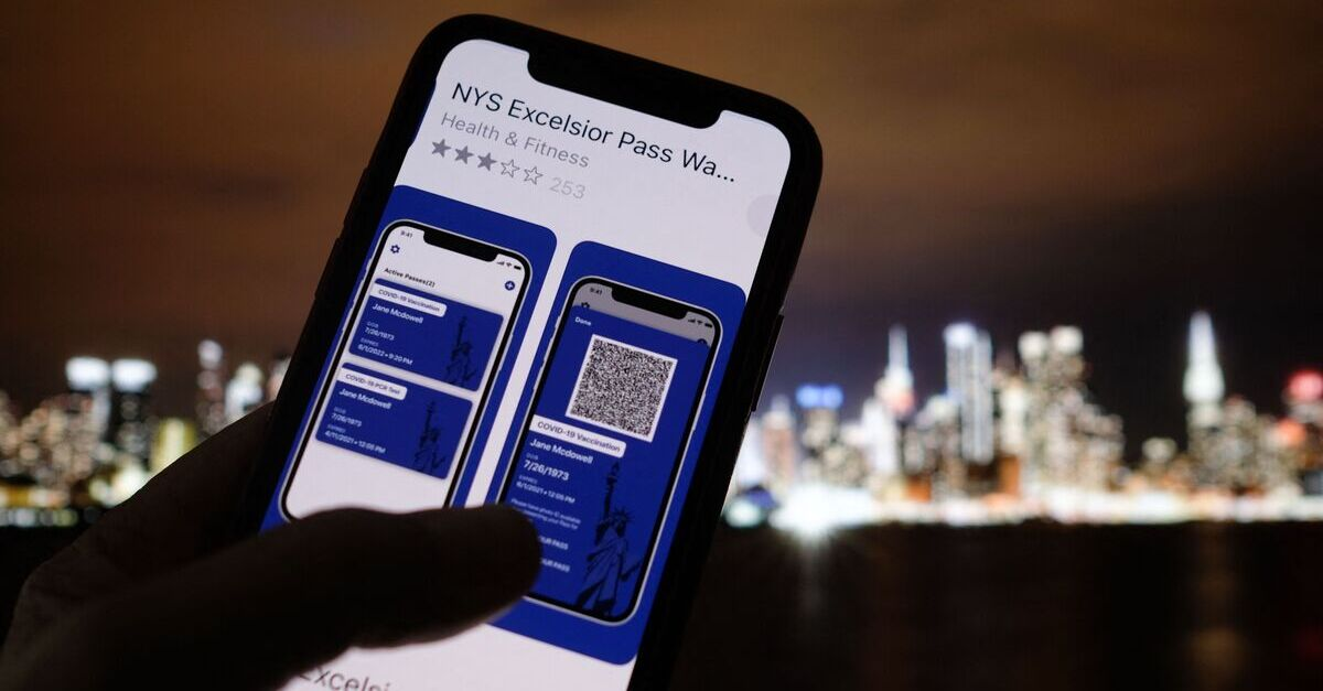 A person looking at the Excelsior Pass app.