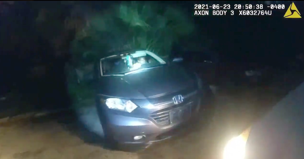 Officer Jason Raynor's body camera video contained images of the fallen officer approaching a gray Honda SUV moments before he was shot.