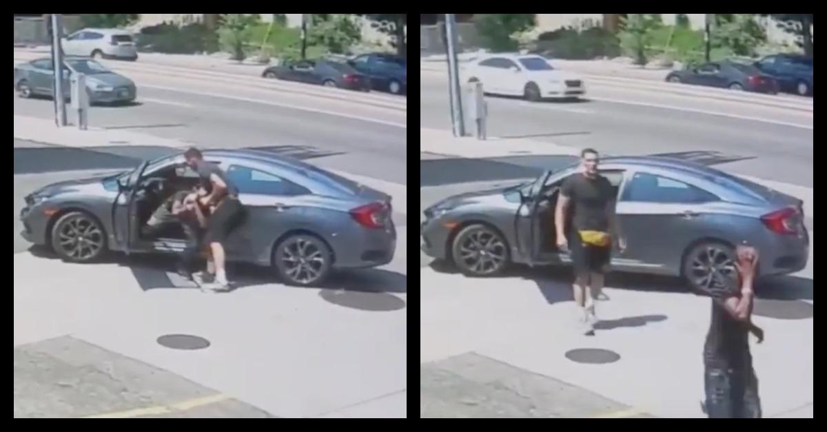 Jordan Williams removes a carjacker from his car in Denver
