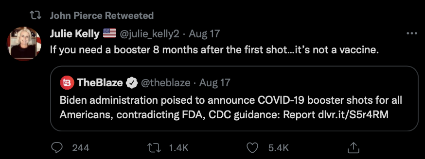 A tweet retweeted by John Pierce expressing skepticism about COVID-19 health measures