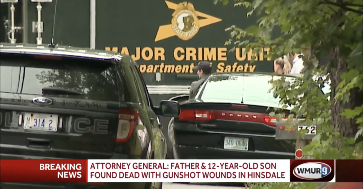 The crime scene outside of a murder-suicide in New Hampshire