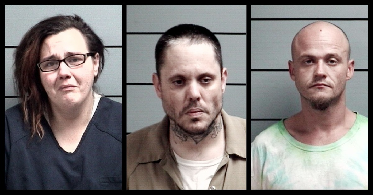 Tiffany Coburn, Kenneth Lain and Justin Miller appear in mugshots