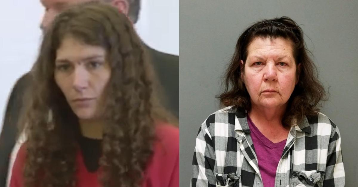 Erika Guttilla in court; and Carmen Guttilla in a booking photo