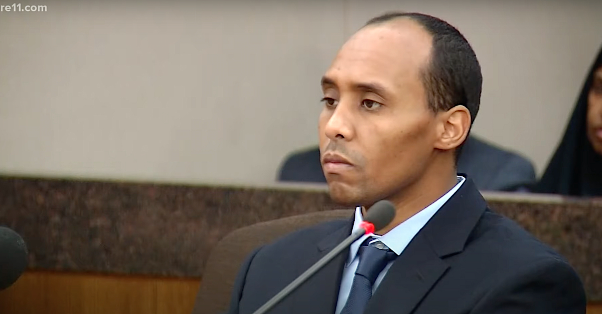 Mohamed Noor appears in a video screengrab while attending a court appearance.