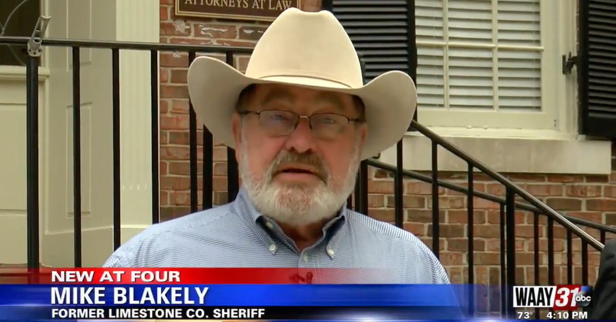 Former Limestone Co., Ala. Sheriff Mike Blakely appears in an Oct. 5, 2021 press conference. (Image via WAAY-TV screengrab.)