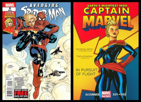 Captain Marvel Costume History The Mary Sue And printed belt at waistline. captain marvel costume history the