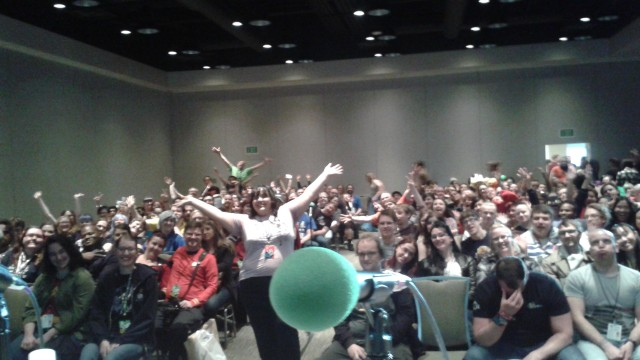 Me and the full-house just before the panel. These folks were rad.