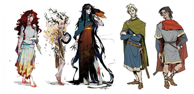 l-r:  Smertae, Cait, Riata, Banquo, and Macbeth. Character designs by Sarah Stone and Kyla Vanderklugt