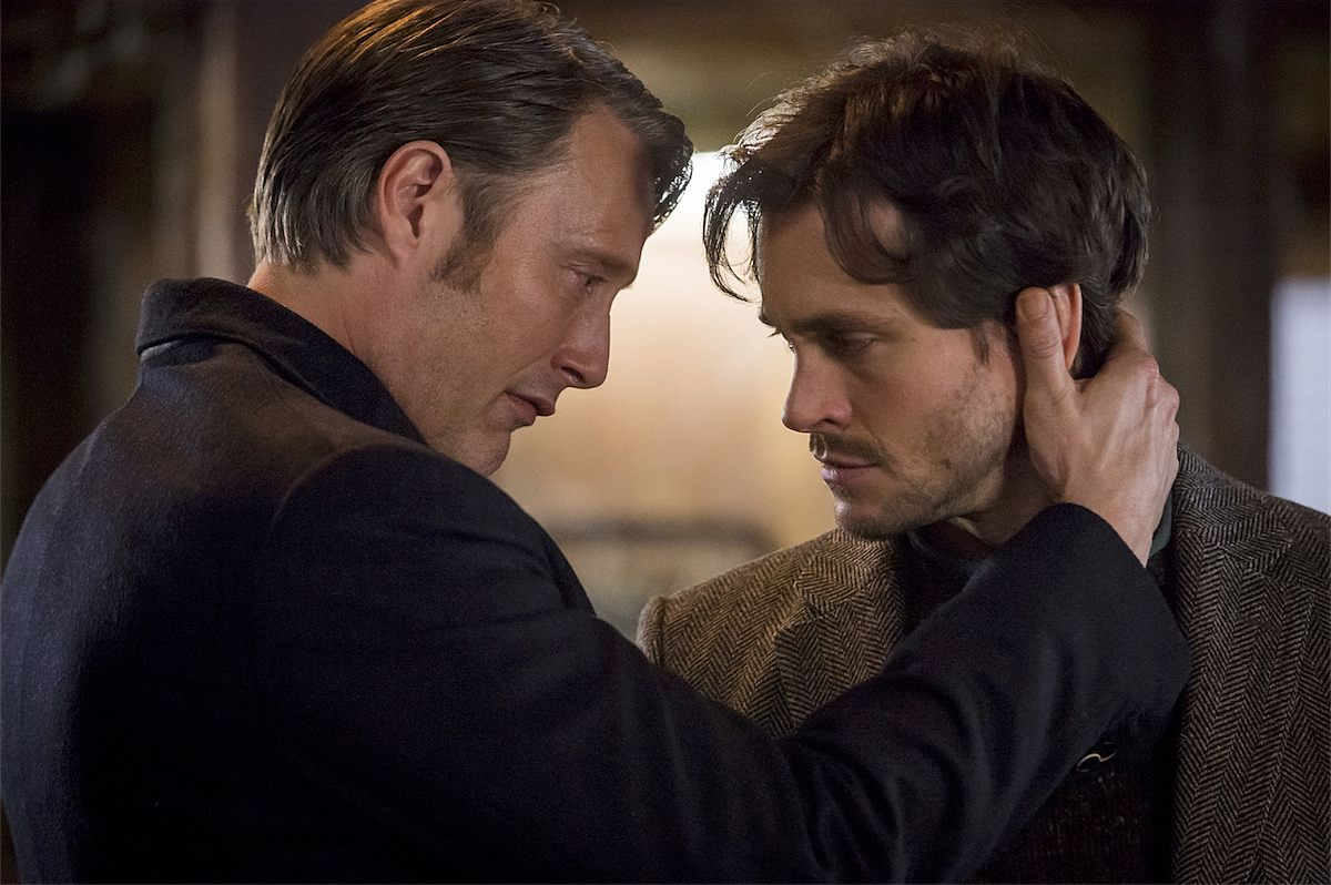 Hannibal Lecter and Will Graham in a close pose for NBC's Hannibal