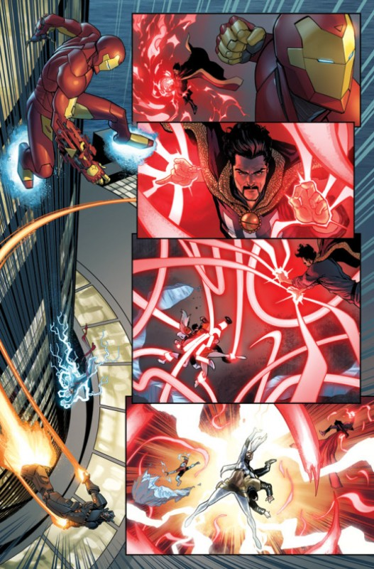 Preview page from Civil War II, Issue #5. Art by David Marquez.