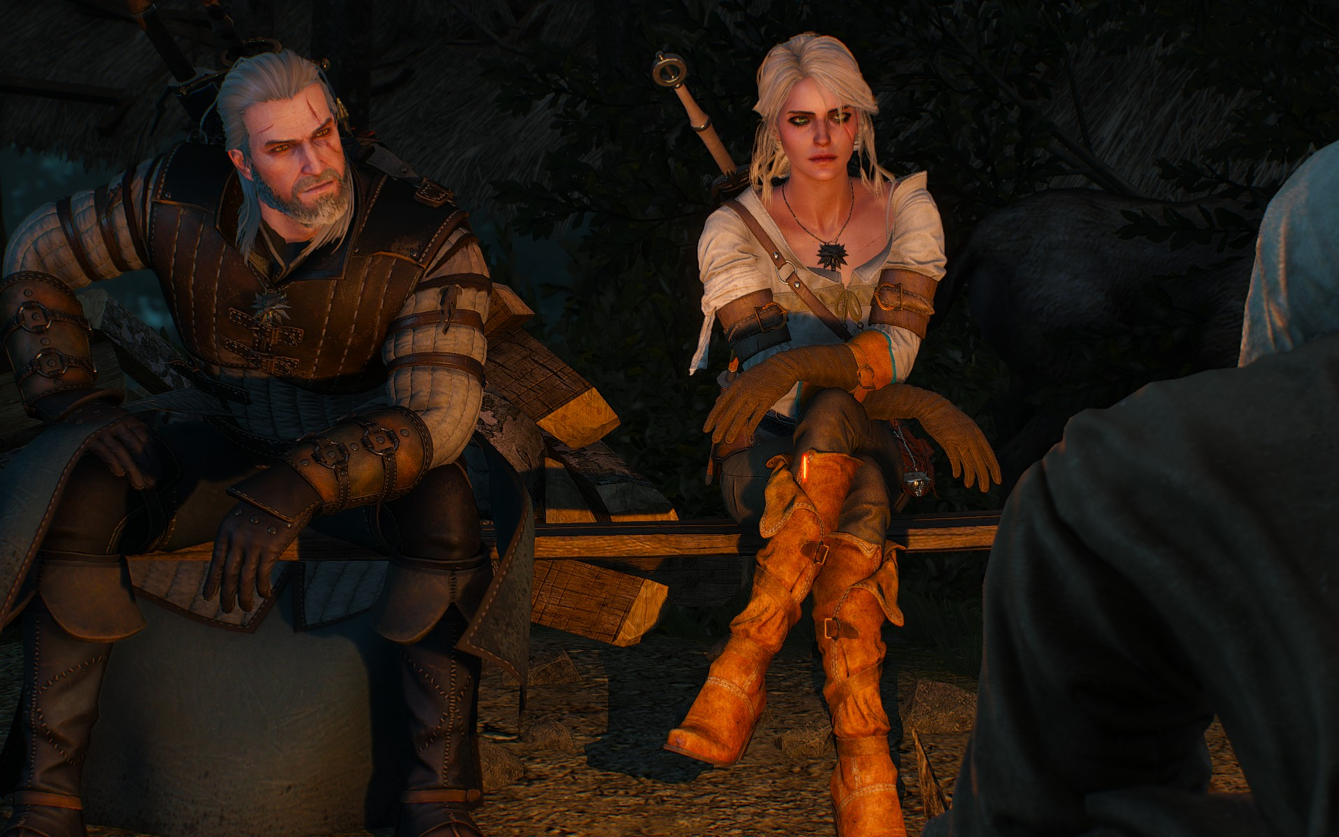 I think those upper arm things are supposed to be bracers, but otherwise Ciri has no protection in a fight.
