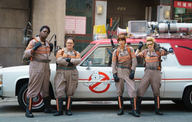 The four Ghostbusters from Paul Feig's Ghostbusters movie.