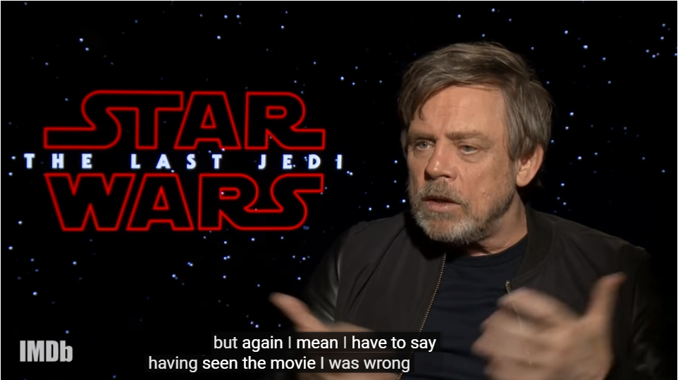 Screengrab of Mark Hamill's interview about Luke with IMDB