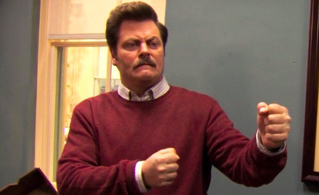 Ron Swanson ready to fight