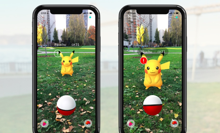 Pokémon GO AR update showing Pikachu far and near