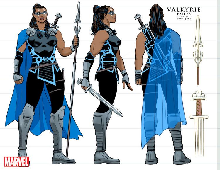 """Character sketch for Valkyrie from """"Exiles"""" by Javier Rodriguez Image: Marvel Comics"""