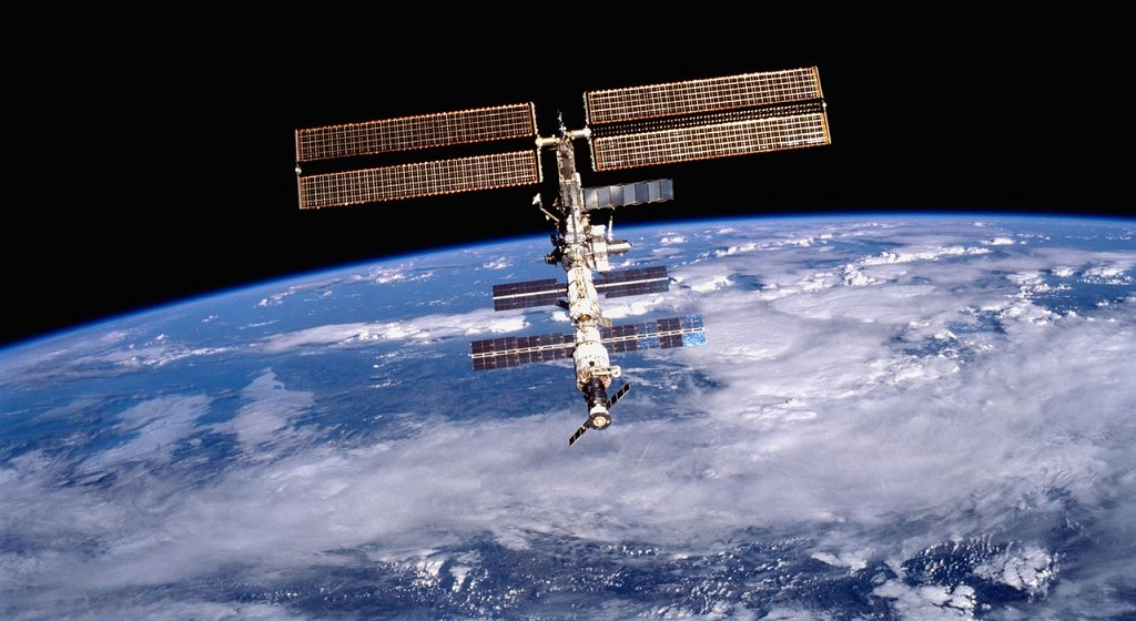 NASA image of the International Space Station (ISS) was photographed by one of the crewmembers of the STS-105 mission