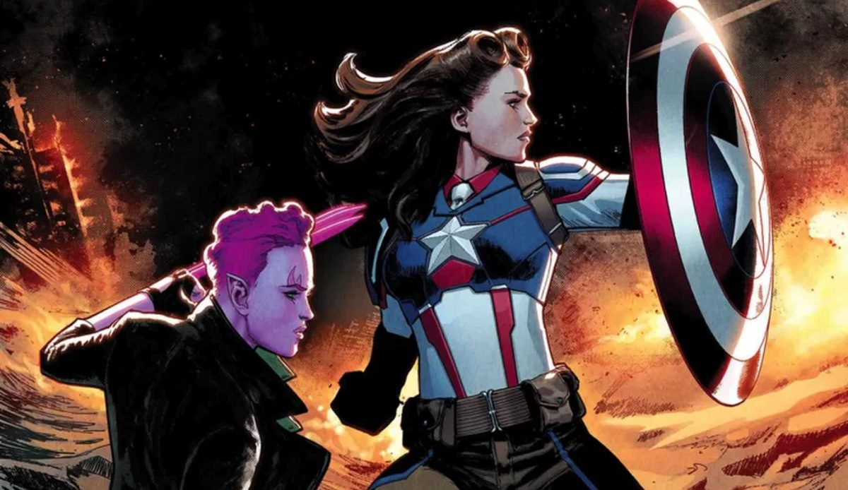 """Peggy Carter as Captain America on the cover of Marvel Comics' """"Exiles"""" #3, by David Marquez"""